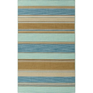 Handmade Flat Weave Stripe Pattern Blue Contemporary Rug (5' x 8')