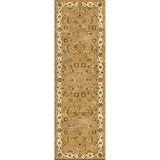 Hand-tufted Traditional Oriental Pattern Brown Wool Rug (2'6 x 8')