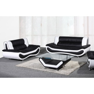 Christina Two-tone Leather Sofa and Loveseat Set