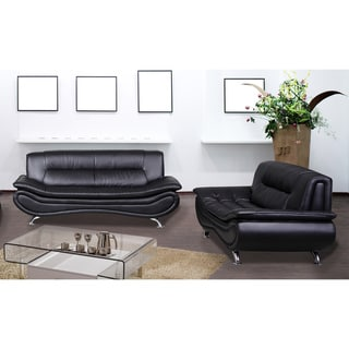 Christina Black Leather Sofa and Loveseat Set