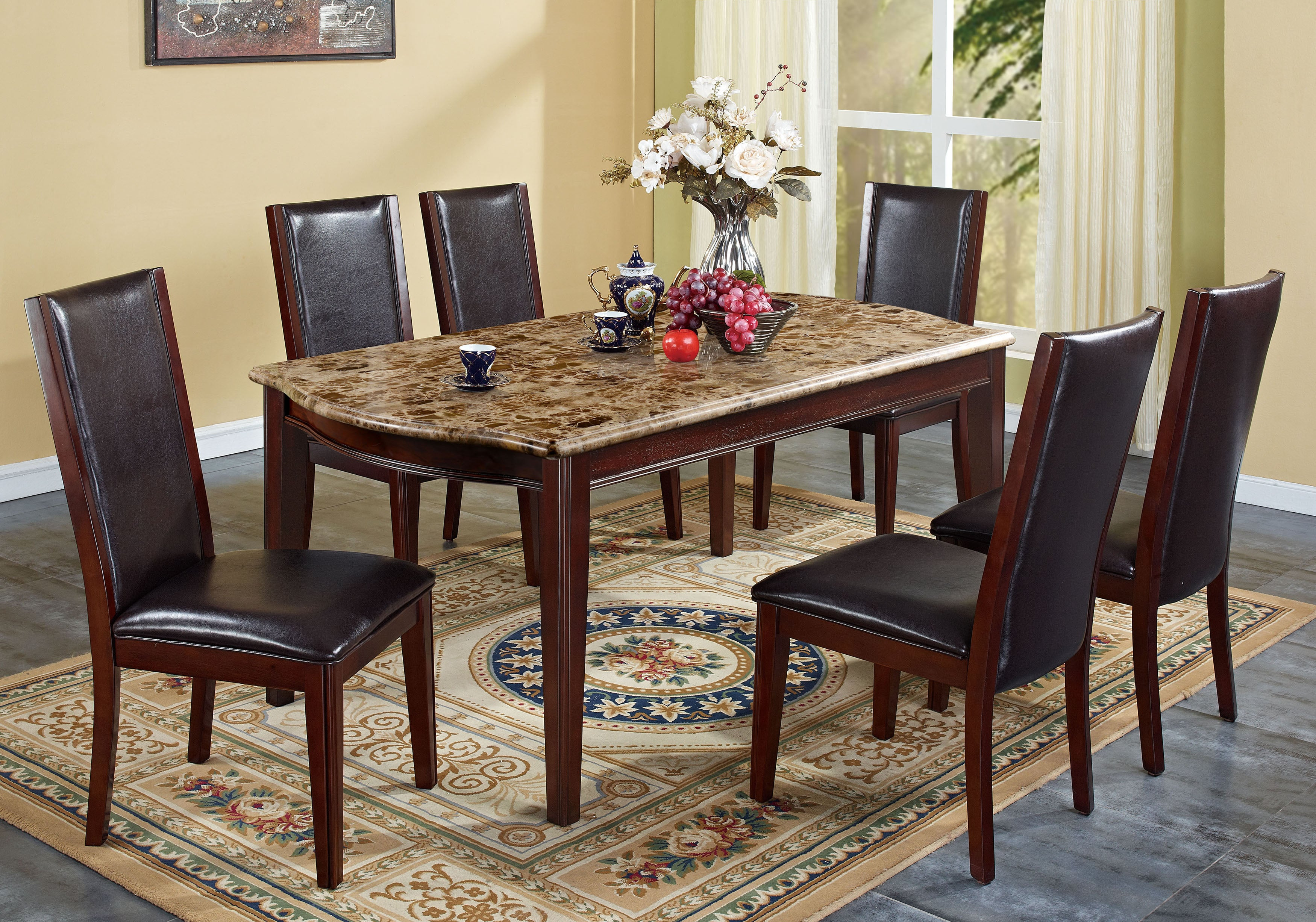 Radian Emperor Dark Real Marble Top 7-piece Dining Set