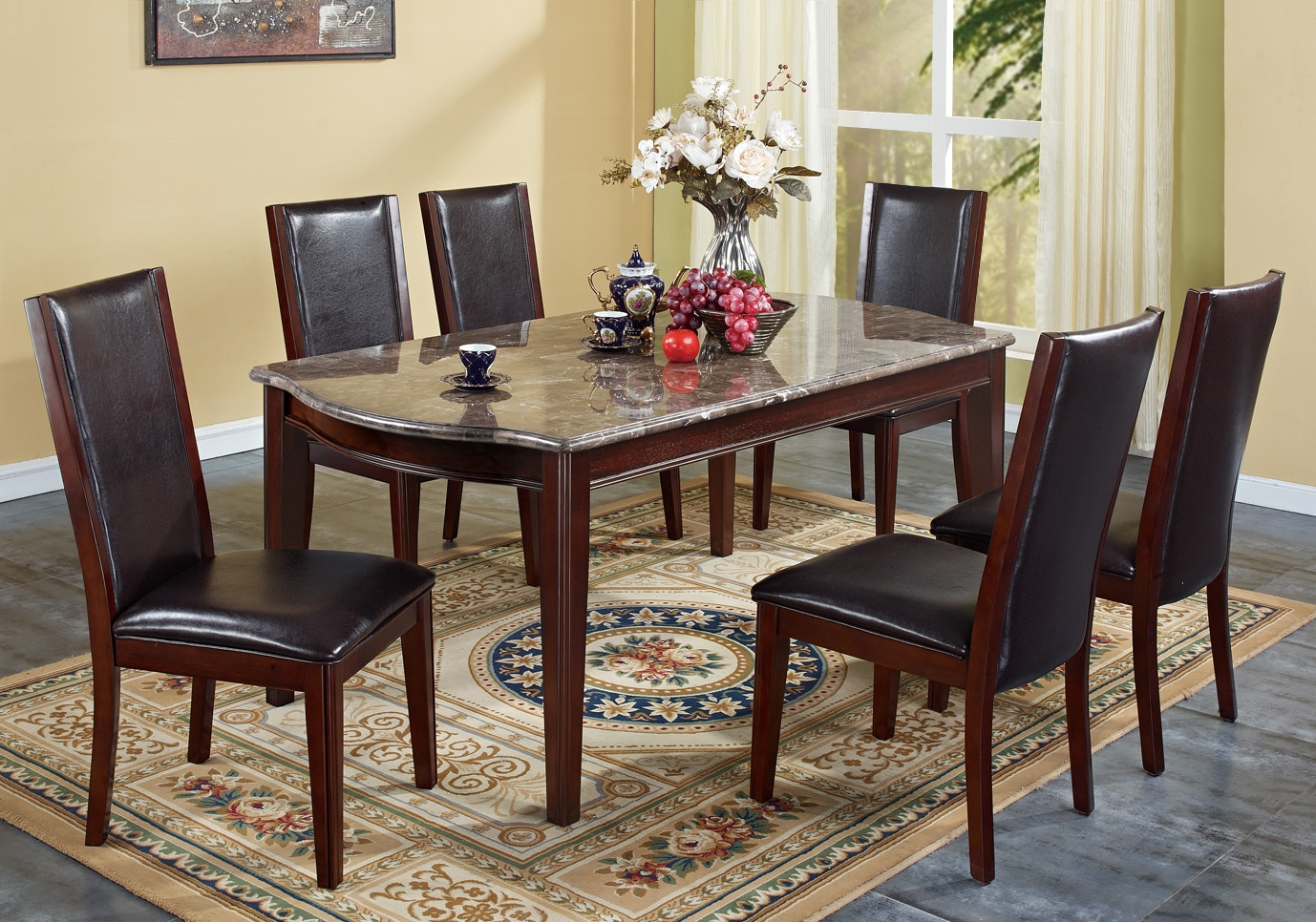 Radian Dark Brown Faux Marble Top 7-piece Dining Set