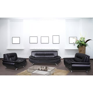 Christina Black Leather Sofa Set