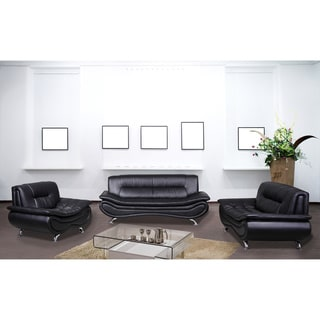 Christina Black Leather 3-piece Sofa Set