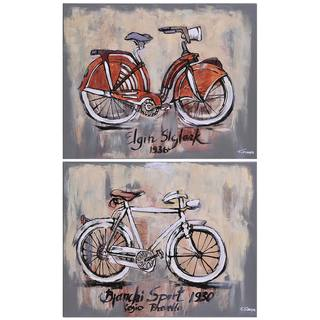 Ksenia Sizaya 'Vintage Bicycle' Hand-painted Canvas Art (Set of 2)