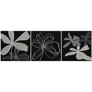 Loocy May 'Greyscale Garden' Hand-painted Canvas Art (Set of 3)