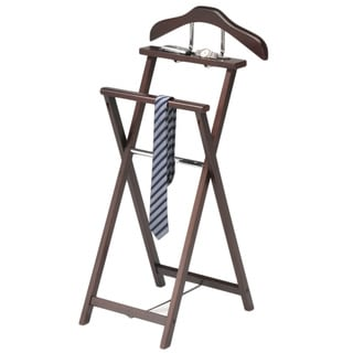 Walnut Finish Solid Wood Suit Valet Rack Stand Organizer