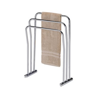 Chrome Finish Metal Towel Bathroom Quilt 3-Bar Rack Stand