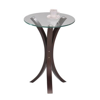 Round Glass Walnut Finish Chair Side End Table