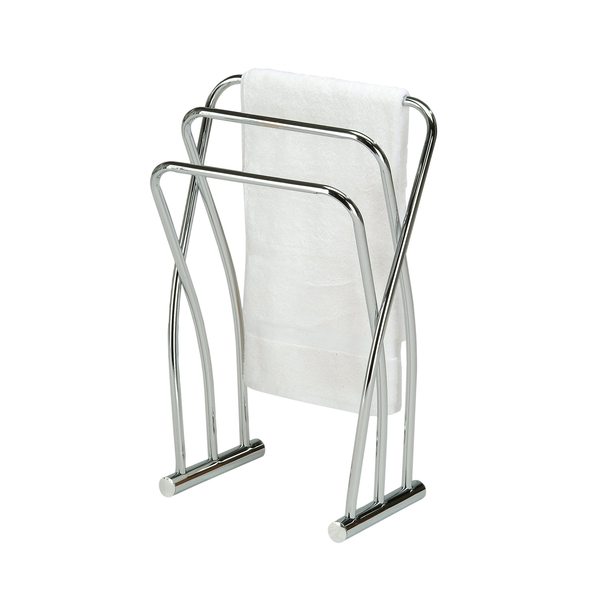 Chrome finish towel bathroom quilt rack stand overstock shopping