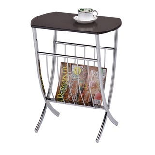 Walnut Chrome Sofa Chairside End Table/ Magazine Rack