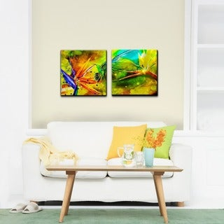 Alexis Bueno 'Tropical Birds of Paradise' 2-piece Canvas Art Set