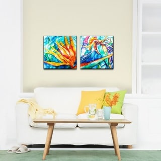 Alexis Bueno 'Tropical Birds of Paradise' Canvas Wall Art 2-piece Set