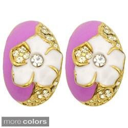 Kate Marie Goldtone Rhinestone and Enamel 'Huntington' Earrings