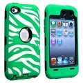 BasAcc Black Hard/ Green Zebra Hybrid Case for Apple iPod touch 4