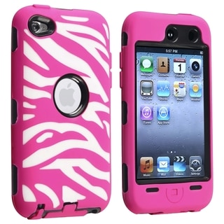 BasAcc Black Hard/ Hot Pink Zebra Hybrid Case for Apple iPod touch 4