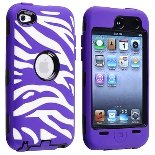 BasAcc Black Hard/ Purple Zebra Hybrid Case for Apple iPod touch 4