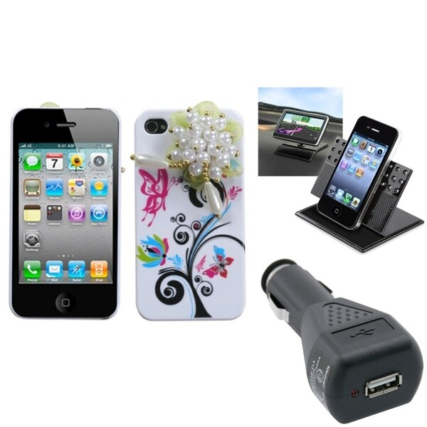 INSTEN Car Charger/ Dashboard Holder/ Phone Case Cover for Apple iPhone 4/ 4S
