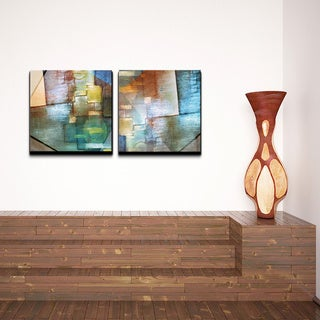 Alexis Bueno 'Blue Abstract Study' Canvas Wall Art 2-piece Set