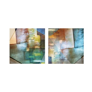 Alexis Bueno 'Blue Abstract Study' 2-piece Canvas Wall Art Set