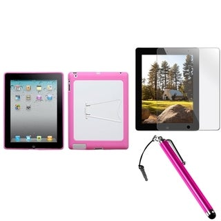 BasAcc White/ Pink Case/ Stylus/ LCD Protector for Apple iPad 2/ 3/ 4