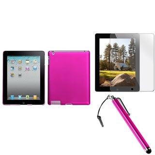 BasAcc Hot Pink Case/ Stylus/ Screen Protector for Apple iPad 2/ 3/ 4