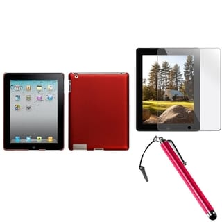BasAcc Red Case/ Stylus/ Screen Protector for Apple iPad 2/ 3/ 4