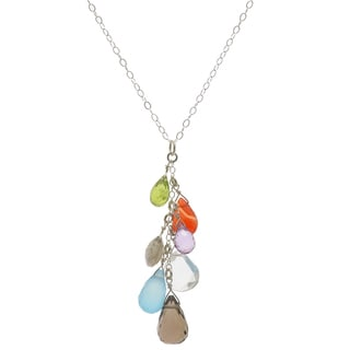 Ashanti Sterling Silver Faceted Multi Gemstone Dangle Pendant (Sri Lanka)