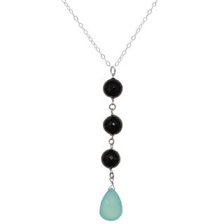 Ashanti Sterling Silver Aqua Blue Chalcedony and Black Spinel Gemstone Dangle Handmade Pendant (Sri Lanka)
