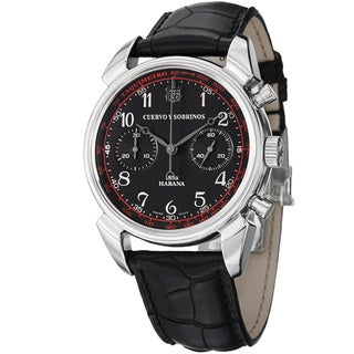 Curevo Y Sobrinos Men's 3199.1N 'Historiador Crono' Black Dial Strap Watch