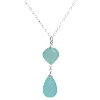 Ashanti Sterling Silver Aqua Blue Chalcedony Briolette Gemstone Dangle Handmade Pendant (Sri Lanka)