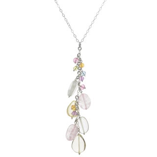 Ashanti Sterling Silver Cascading Multi Gemstone Dangle Handmade Pendant (Sri Lanka)