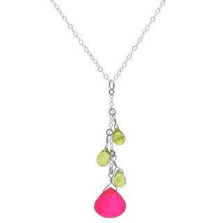 Ashanti Sterling Silver Hot Pink Chalcedony and Peridot Briolette Gemstone Dangle Handmade Pendant (Sri Lanka)