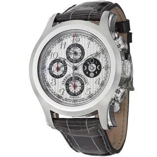 Cuervo Y Sobrinos Men's 2859.1A 'Robusto Chrono' Silver Dial Grey Strap Watch