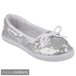Journee Girl's 'K-Boaty-Seq' Topstitched Sequined Pull-On Boat Shoes