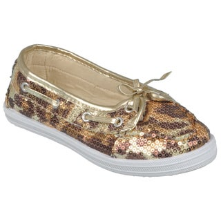 Journee Girl's 'K-Boaty-Seq' Topstitched Sequined Slip-On Boat Shoes