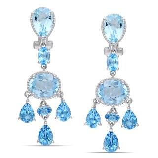 Miadora Sterling Silver 19ct TGW Blue Topaz Dangle Earrings