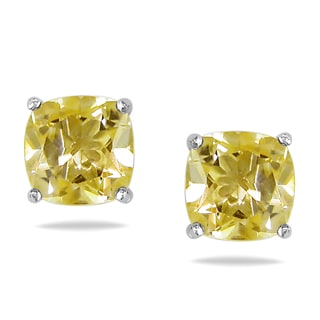 Miadora Sterling Silver 2ct TGW Citrine Solitaire Stud Earrings
