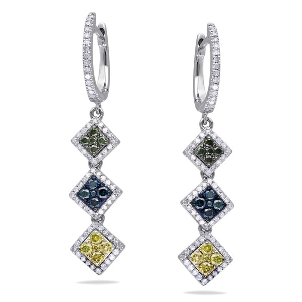 Miadora Sterling Silver 1ct TDW Multi-color Diamond Earrings