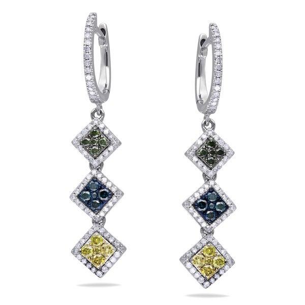 Miadora Sterling Silver 1ct TDW Multi-color Diamond Earrings