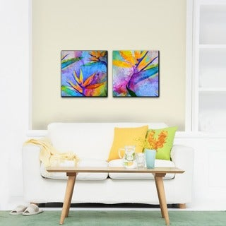 Alexis Bueno 'Tropical Birds of Paradise' Canvas Wall Art (Set of 2)