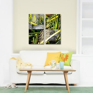 Alexis Bueno 'Tropical Pineapple' Canvas Wall Art 2-piece Set