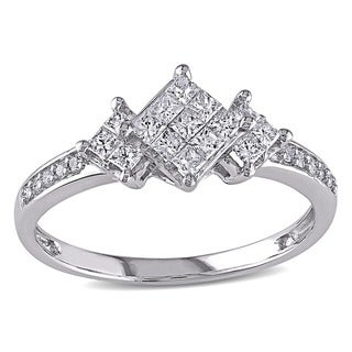 Miadora 14k White Gold 1/2ct TDW Princess Diamond Ring (G-H, I1-I2)