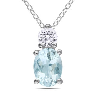Miadora Sterling Silver 1ct TGW Aquamarine and White Sapphire Necklace