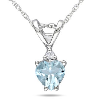 Miadora 10k White Gold Aquamarine and Diamond Heart Necklace