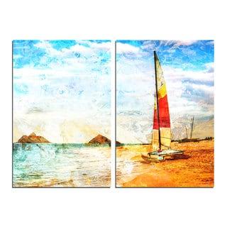Alexis Bueno 'Red Sail' Canvas Wall Art 2-piece Set