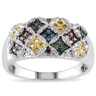 Miadora Sterling Silver 1/2ct TDW Multicolored Diamond Composite-style Ring