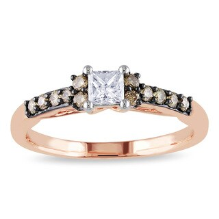 Miadora 14k Rose Gold 1/2ct TDW Brown and White Diamond Engagement Ring