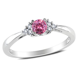 Miadora 14k White Gold 1/4ct TDW Pink and White Diamond Engagement Ring