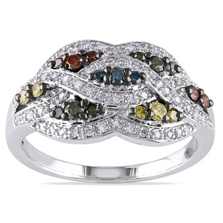 Miadora Highly Polished Sterling Silver 1/2ct TDW Multicolored Diamond Ring